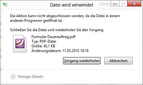 Datei wird verwendet - Programm feststellen